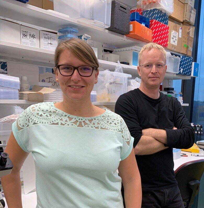 Medförfattarna Silke Eisinger och Mikael Karlsson vid institutionen för mikrobiologi, tumör- och cellbiologi.