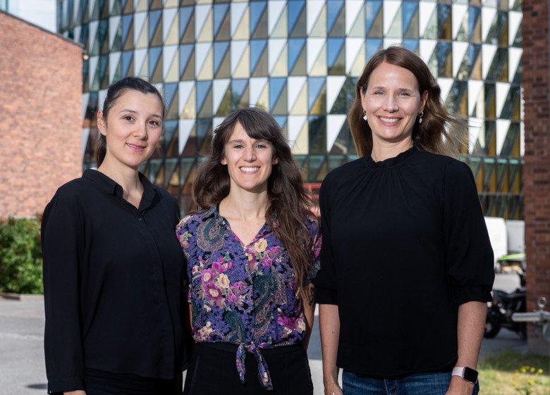 Porträtt av forskarna Carmen Fourier, Caroline Ran, Andrea Carmine Belin.