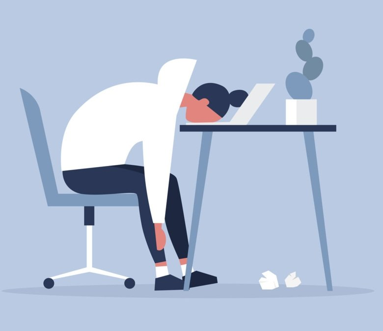 Illustration of tired person.
