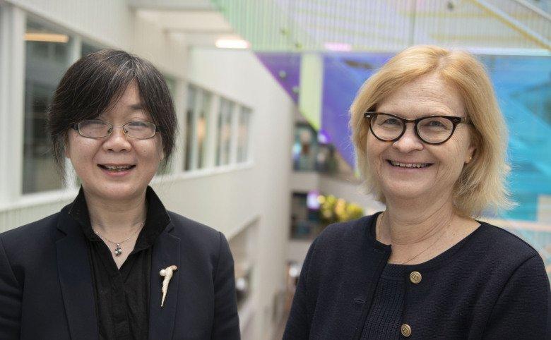 Hong Xu och Maria Eriksdotter, forskare vid institutionen för neurobiologi, vårdvetenskap och samhälle