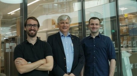 David Alsina, Nils-Göran Larsson and Oleksandr Lytovchenko, researchers at the Department of Medical Biochemistry and Biophysics