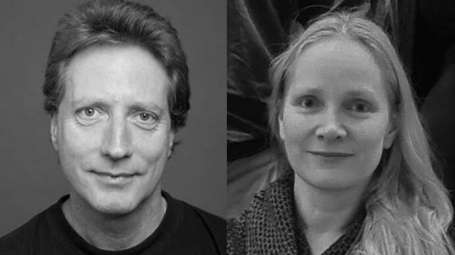 Portrait of Gilad Silberberg och Maya Ketzef in black and white, side by side.
