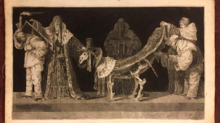 Image depicts an animal skeleton admired by four men i historical clothing.