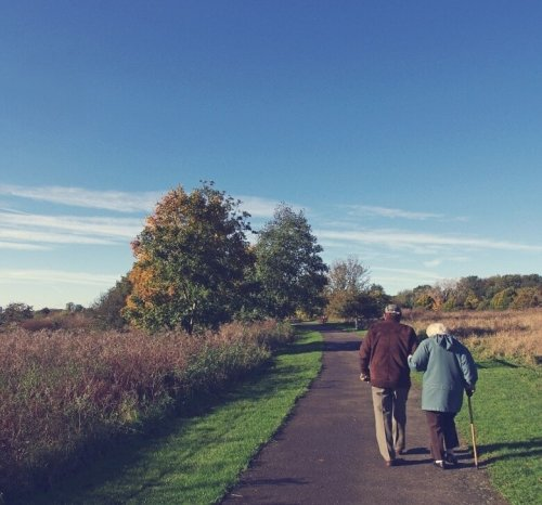 An elderly couple takes a walk.