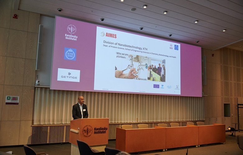 Aman Russom talks during the inauguration ceremony of AIMES on 30 September 2020, in Biomedicum.