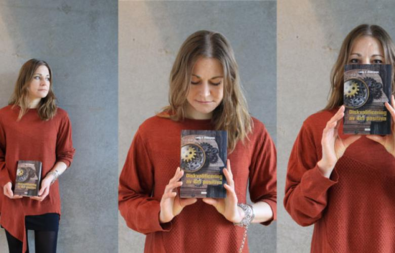 collage of three pictures/portraits of Linda P. Sturesson holding her newly released book.
