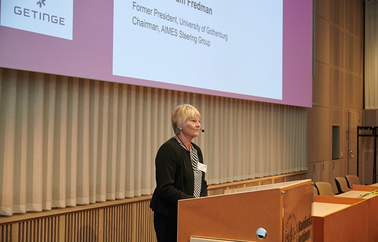 Pam Fredman speaks at the inauguration of AIMES, in Biomedicum, on 30 September 2020